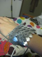 First Scalemail Knit Gauntlets by opiel16