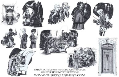 Harry Potter: Book 2 Chapter 11 Vignette Drawings by TheGeekCanPaint