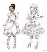 Tiana and Charlotte (sketch) by Moon-In-Milk