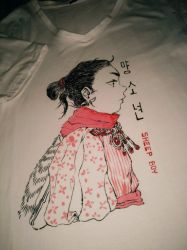Tribal sheep boy 2nd attempt on t shirt by sithsensui