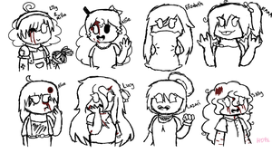 Creepypasta - Girls rough sketches by HopefulEntertain