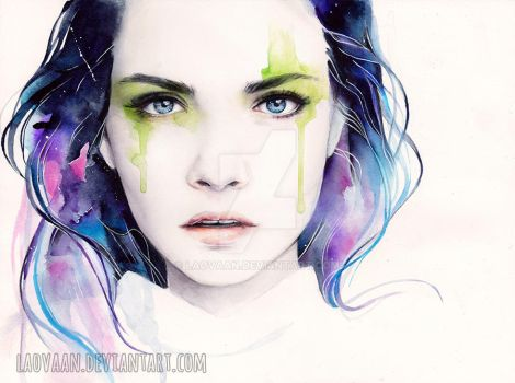 Watercolor Portrait - Cara Delevingne by Laovaan