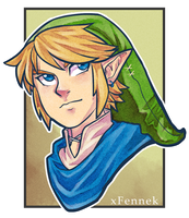 Hyrule Warriors - Link Headshot by xFennek