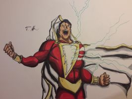 Shazam aka the human lightning bolt by PartyComicsArt