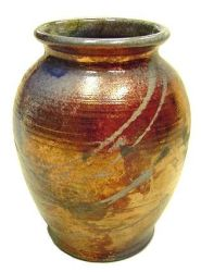 Gold Copper Raku Jar by anubistj