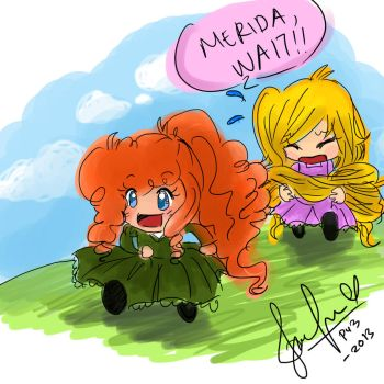 Merida(brave) And Rapunzel(tangled) by puteriemily