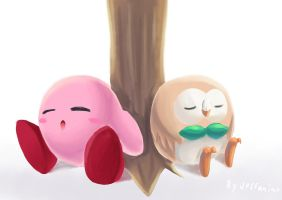 Kirby And Rowlet by Jeffanime