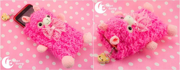 Crochet sweety llama Mobile phone bag by CuteMoonbunny