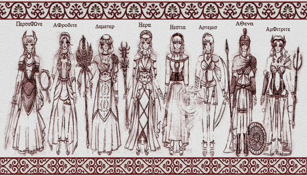 The Queen Goddesses of Greece by lordaphaius28