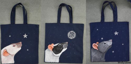 Rat Tote Bags by wolfysilver