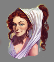 portrait of a smirky greek gal by KuroCyou