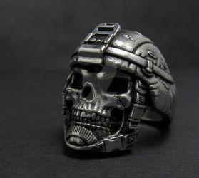 Grunt skull ring by GageCustomKnives