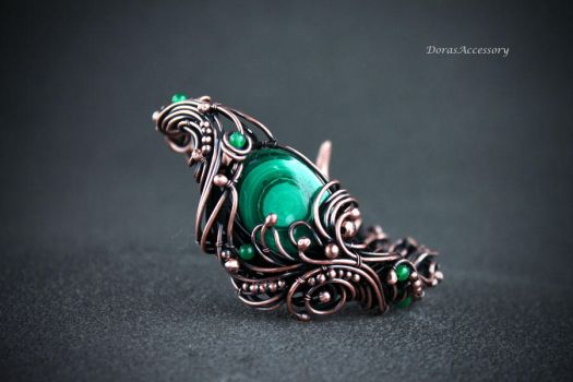 copper bracelet with malachite by MDorothy