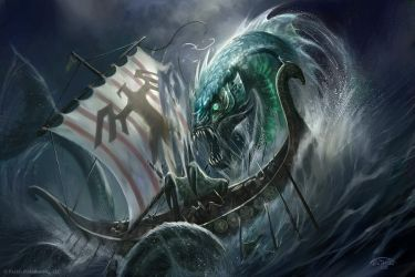 Sea Linnorm attacks vikings by TARGETE