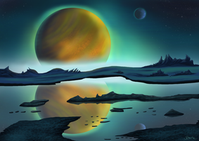 Sci-Fi-Landscape - Dawn on a Foreign Planet by Scharle