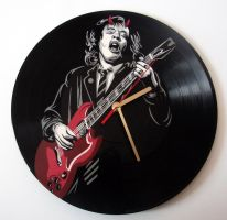 AC/DC Angus Young painted on vinyl record clock by vantidus