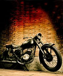 Old motorcycle vertical by turlu