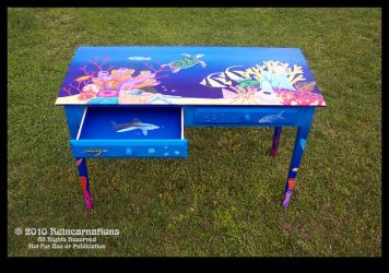 Reef Table - Left Drawer Open by ReincarnationsDotCom