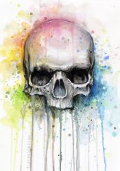 Skull Watercolor Painting by Olechka01