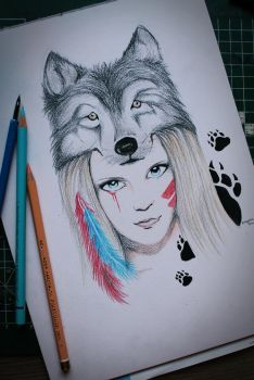 girl with wolf by crazy-pencil98