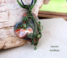 Wire wrapped blossom Agate heart-shaped pendant by IanirasArtifacts