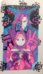 Masks and Roses Highlighter Art by DuckLordEthan