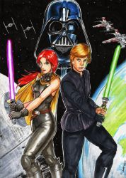 Star Wars Luke Skywalker Mara Jade and Darth Vader by wkohama