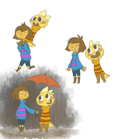 Frisk and Monster Kid by Autumn0wl