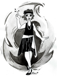 Inktober day 19: Scorched + Flapper Witch by Dalblauw
