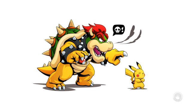 Bowser and Pikachu by mysticalpha