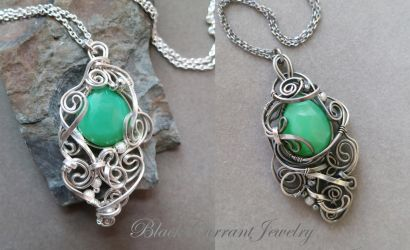 Two Chrysoprase Pendants with Sterling Silver by blackcurrantjewelry