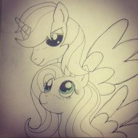 MLP:FiM - Pencil Magic and Fluttershy by MortenEng21