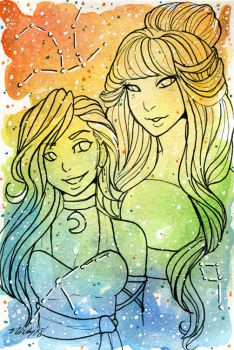 Galaxy Portrait Astronema and Nebbi by nickyflamingo
