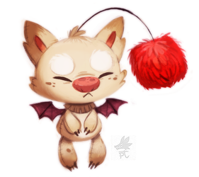 Daily Paint #657. Moogle by Cryptid-Creations
