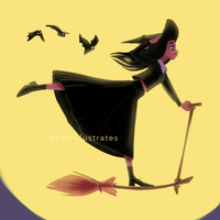 Day 58 - Witch Commute by katyillustrates