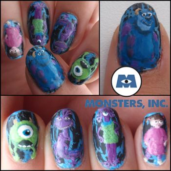 Monsters Inc. nails by Ninails