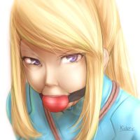 Samus Gagged Portrait by Kidetic