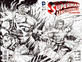 Superman Unchained b/w sketch cover (FOR SALE!) by warpath28