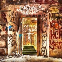 Lost Door with Graffiti by oldhippieart