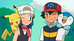 Ash and Dawn's pokemon swap by silver-Z