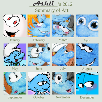 2012 Art Summary of SMURFS!! by Kiss-the-Iconist