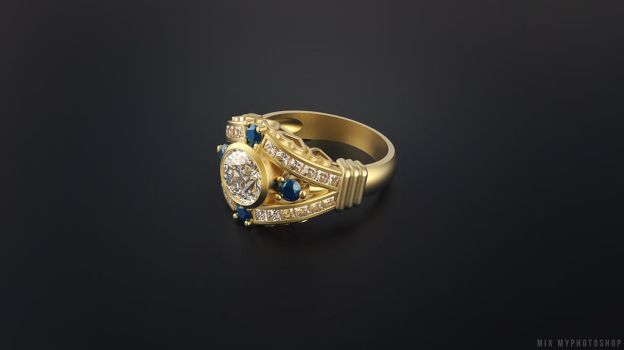 Gold  diamond Ring by MixMyPhotoshop