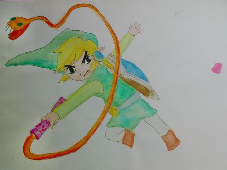 Toon Link and his whip by ErgoMachina