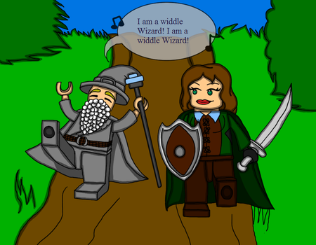 My Nephew and I playing Lego The Hobbit by DominotheFembot