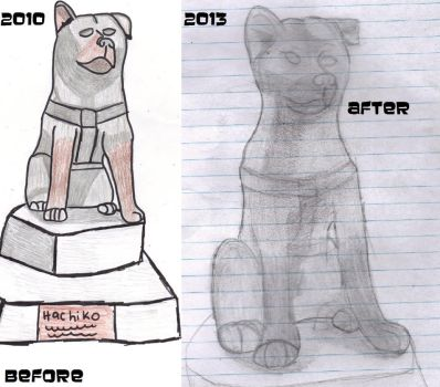 Before and after -Hachiko Statue- by GamerMetalChick295