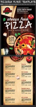 Pizza Flyer Menu Template by Hotpindesigns