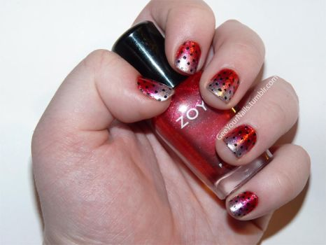Misc. - metallic gradient polka dot nails by ShiversTheNinja