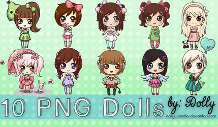 Pack#3 10  Cute Png Dolls by Dolly Tutoriales by DollyTutoriales