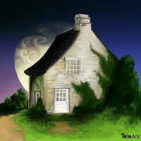 House and Moon by Maybellez