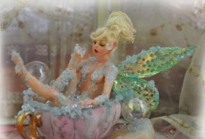 Teacup Tinker Bell Bathing Sculpture by SutherlandArt
